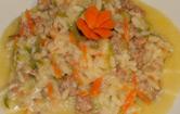 Risotto carote,zucchine e briciole di salsiccia